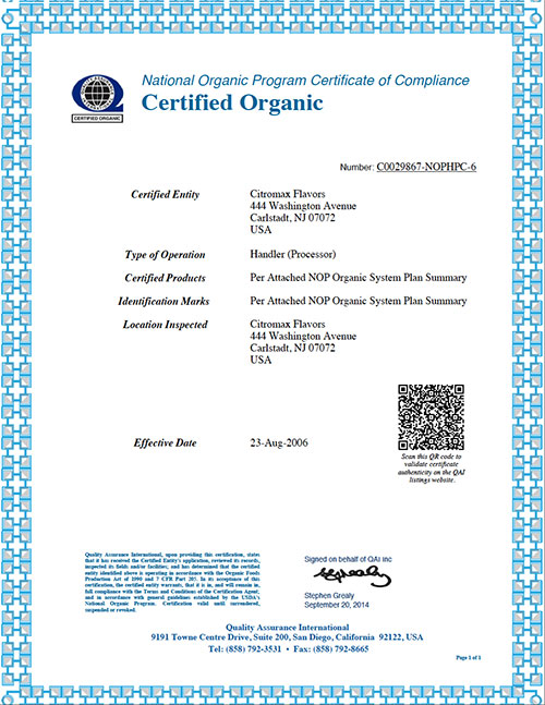Our Certifications Citromaxflavors